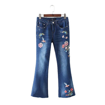 Women studded floral embroidery Flare Jeans rhinestone denim flare pants vintage plus size pockets pants casual trousers KZ850