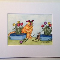 Cat Painting, Orange Kitty, Mouse Playing in the Tulips, Not a Print