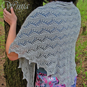 Knitted shawl, cotton shawl, lace shawl, openwork shawl, gray shawl, hand knit shawl, silver shawl, triangular shawl, summer wedding shawl