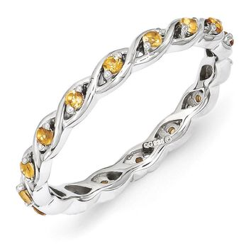 2.5mm Rhodium Plated Sterling Silver Stackable Citrine Twist Band