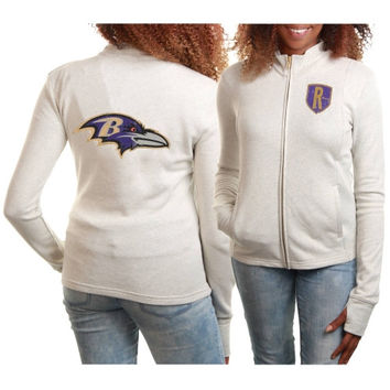 Baltimore Ravens Women's French Terry Lightweight Full Zip Jacket – Gray