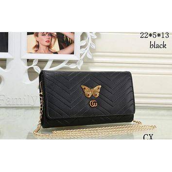 GUCCI 2018 New Fashion Butterfly Female Metal Chain Bag F-MYJSY-BB black