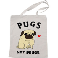 Pugs Not Drugs Handmade Bag, Canvas Bag, Tote Bag