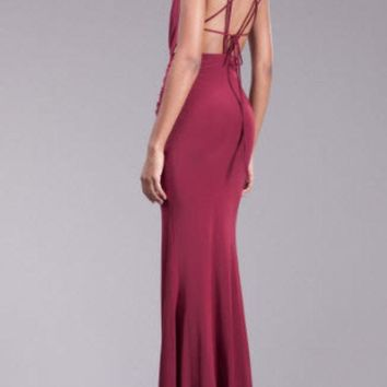 ICIKBG3 Front and Back Cut Out Maxi Dress w Front Split