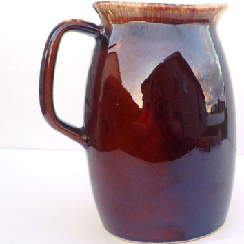 Pitcher, Brown Drip Mirror Glaze Ovenproof, Hull Pottery - 1 Quart