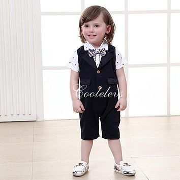 Gentleman style Baby boy's romper for summer baby clothing cotton Newborn rompers baby boy short-sleeve rompers+bow tie