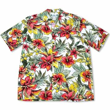 Sunny White Hawaiian Rayon Shirt