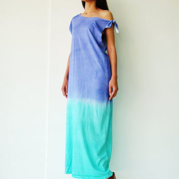 NO.113    Blue and Green Ombré  Cotton Jersey Dress