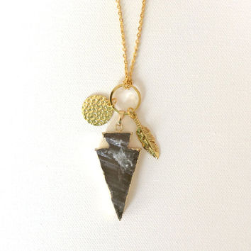 Hunting Theme Long Necklace, Lemon Quartz Arrow Head with Gold Chain