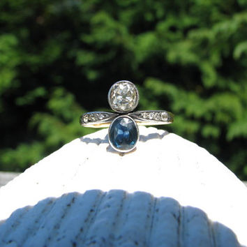 Beautiful Antique Diamond and Blue Sapphire Spinel Ring - approx .65 carat Old Mine Cut Diamond - Lovely Design