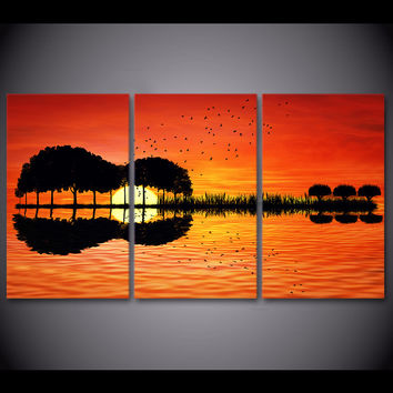 Guitar Tree Lake Sunset 3-Piece Wall Art Canvas