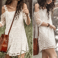 Spring and Summer Short-Sleeved Floral Lace Dress Straps