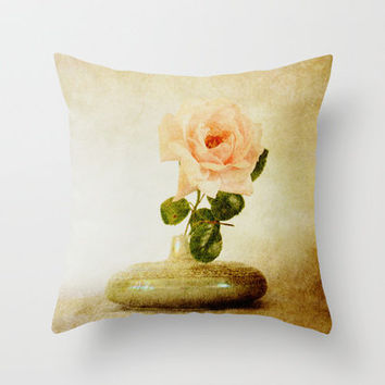 Vintage Rose © Throw Pillow by JUSTART