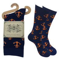 Mens Colorful Cotton Business Fun Casual Fashion Anchor Socks  Collection- Single Pairs