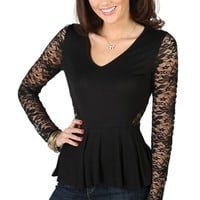 Long Sleeve High Low Peplum Top with Lace Details and V-Neck