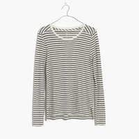 Whisper Cotton Long-Sleeve Crewneck Tee in Alameda Stripe : shopmadewell long-sleeve tees | Madewell