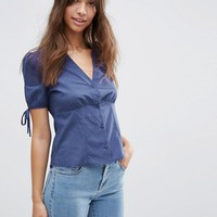 ASOS Tea Blouse with Tie Sleeve at asos.com