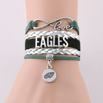 Infinity Love Philadelphia Eagles Bracelet NFL Football