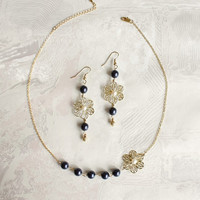 Precious Obscurity, Jewelry Set with Long Earrings and Pearls Necklace
