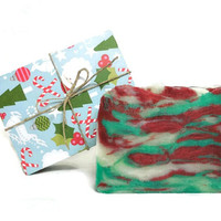 Peppermint Soap, Candy Cane Soap, Handmade Soap, Vegan Soap, Gift under 10