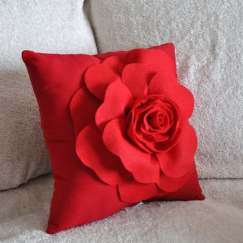 MOTHERS DAY SALE Red Rose on Red Pillow