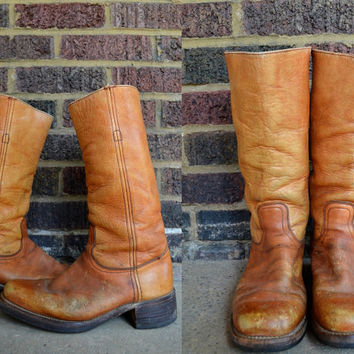 Vintage 70's Frye Tan Leather Campus Stacked Heel Bohemian Boots, Mens 9