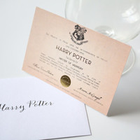 Harry Potter wedding favors Party supplies Hogwarts SMALL card Harry Potter Card- Custom name Master of Wizardry
