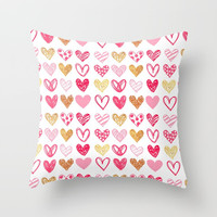 Doodle Hearts Throw Pillow by All Is One