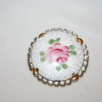 Vintage Guilloche Brooch White Rose  Rhinestone 1950s Jewelry Chunky