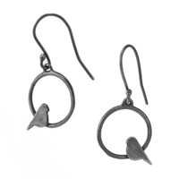 CIRCLE BIRD EARRINGS | Birds, Sterling Silver, Recycled, Sweet, Youthful, Contemporary, Simple, Pretty | UncommonGoods
