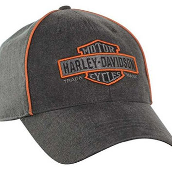 Harley-Davidson Men's Nostalgic Bar & Shield Baseball Cap, Gray/Orange BCC31380
