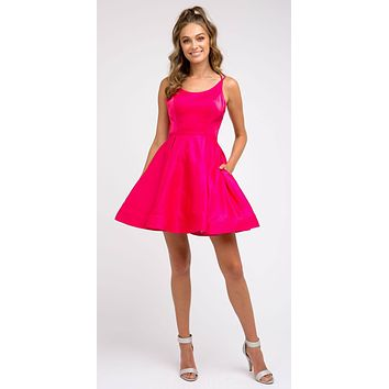 Caged-Back Homecoming Short Dress Fuchsia with Pockets