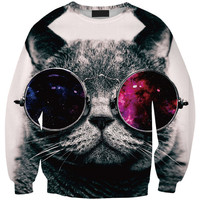 Women's Fashion Cartoons Print Pullover Glasses Cats Stylish Strong Character Eyewear Fashion Round-neck Hoodies = 4817109316