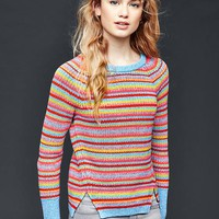 Cotton marled side slits sweater