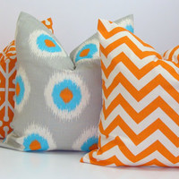 PILLOW SET.Pillow Covers.Three Piece Set.Orange.Turquoise.Gray.18x18 inch.Housewares.Home Decor.Dominos.Ikat.Chevron.Aqua Blue.Grey