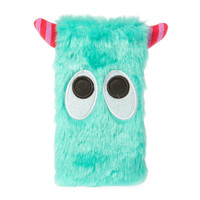 Plush Mint Green Monster with Striped Horns Phone Sock