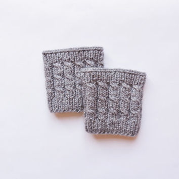 Knitted Boot Cuffs, Grey Faux Leg Warmers, or Boot Toppers with Chunky Knit
