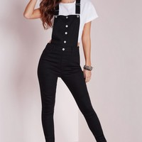 Missguided - Skinny Dungarees Washed Black