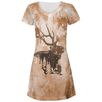 Distressed Brown Elk Silhouette Juniors V-Neck Beach Cover-Up Dress