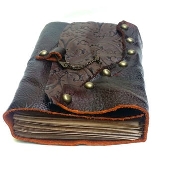 Medieval Studded Leather Journal with Aged Paper