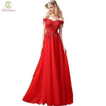 SSYFashion New Arrival Bride Married Red Evening Dress Sweetheart Lace Beading Sweep Train Long Prom Dress Custom Formal Dresses