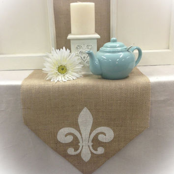 "Burlap Table Runner 12"", 14"", & 15"" wide with a Fleur de Lis on the both ends"