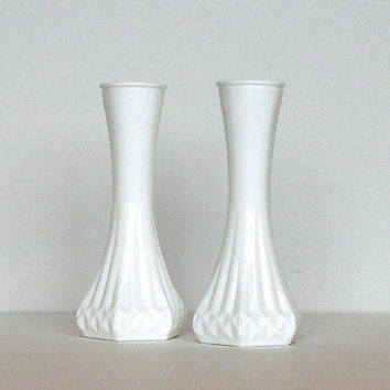 Vintage Milk Glass Bud Vases Hoosier Glass Opaque White Matching Pair Numbered