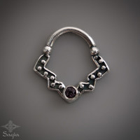 Silver Septum Ring With Amethyst Stone For Pierced Nose, Tribal Septum Jewelry, 925 Sterling Silver Nose Ring By Sagia
