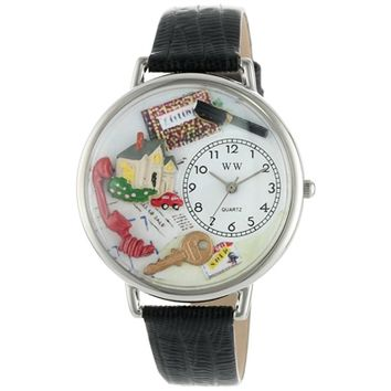SheilaShrubs.com: Unisex Realtor Black Skin Leather Watch U-0610006 by Whimsical Watches: Watches