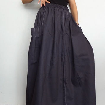 Womens Long Skirt Jeans,Comfortable Unique Pleated, Gray Cotton Denim Heavy Weight (Skirt-3C).