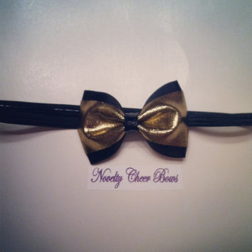 Gold Metallic Mini Cheer Bow over Black Grosgrain with Black Sequin Center attached to Black Headband