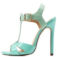 Mint Texture Block T-Strap Heels by Charlotte Russe