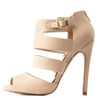 Nude Qupid Cut-Out Caged Peep Toe Heels by Qupid at Charlotte Russe