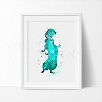 Princess Jasmine 1, Aladdin Watercolor Art Print